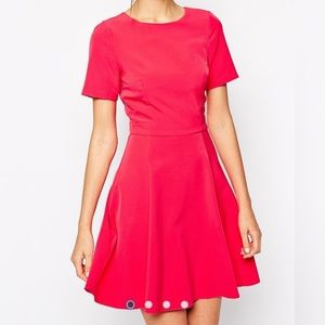 ASOS Warehouse Open Back Tie Dress Hot Pink Size 4